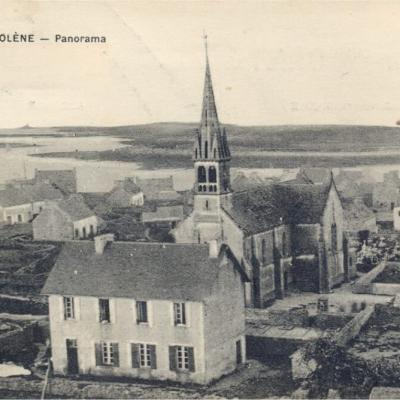 Molene Panorama Eglise Mairie Collection Privee Annees20